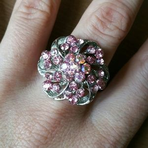 Jewelry - Pink Swarovski Crystal Flower Ring